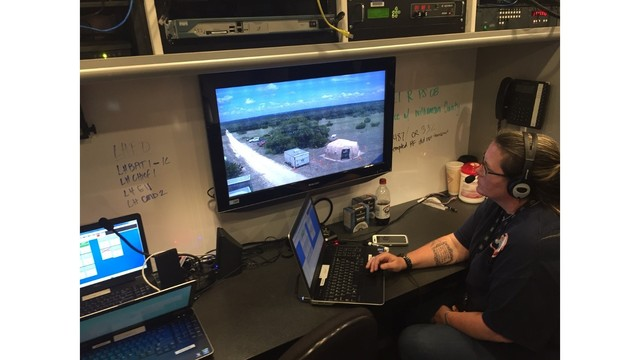 emergency workers test dispatching equipment for disaster