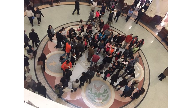 Protesters gathering in the star rotunda at the State Capitol showing their support for immigrants and dislike of Senate Bill 4_408436