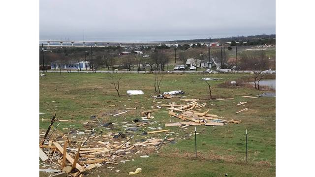Overnight damage from a possible tornado in Buda, Texas_422426