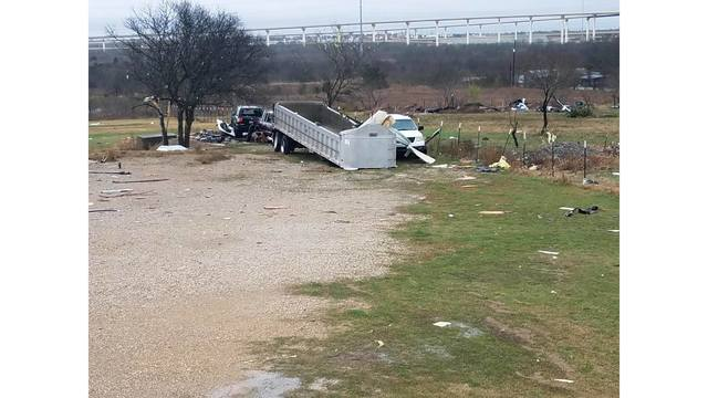 Overnight damage from a possible tornado in Buda, Texas_422425