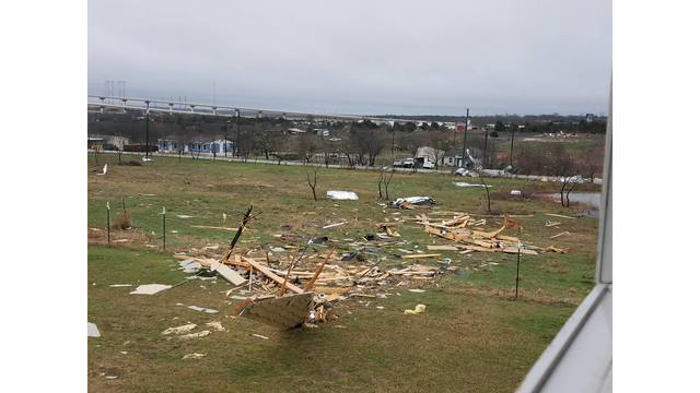 Overnight damage from a possible tornado in Buda, Texas_422423