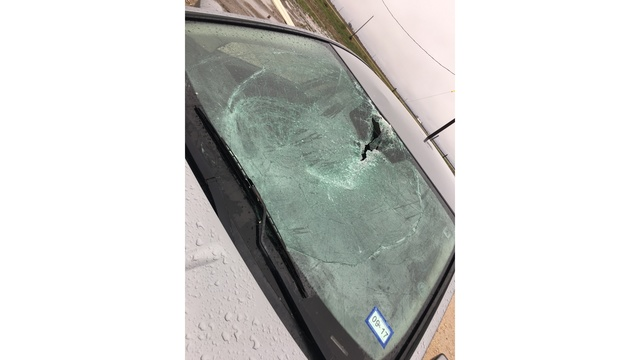 Piece of sheet metal flied across property and hits homeowners car in Elgin, Texas_422492
