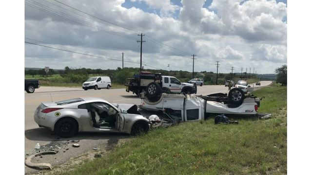 Police chase with sports car ends in SH 71 rollover near Spicewood
