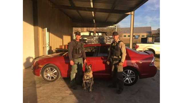Fayette County deputies flank K9 Lobos after finding 35 kilos of cocaine in a car during a traffic stop on I-10 near Flatonia on Jan. 9, 2018 (_613067