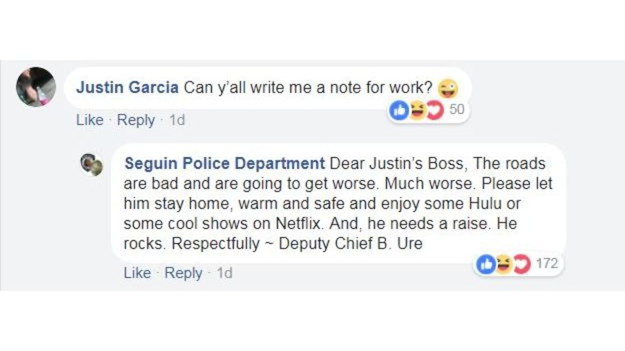 police department writes excused absence so man doesnt have to go to work in icy weather