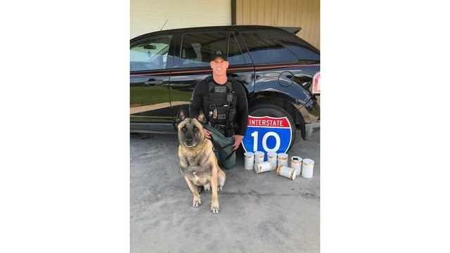 K9 Lobos and partner Sgt. Randy Thumann find $1.2 million worth of meth in a vehicle on June 28, 2018