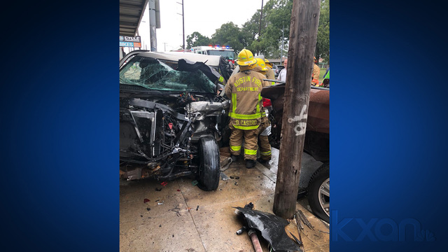 One rescued from truck after crash into Guadalupe St. business