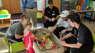 IndyCar drivers visit patients at Dell Children's before weekend races