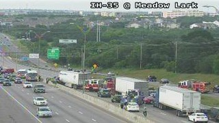 Crash involving tractor trailer shuts down I-35 northbound